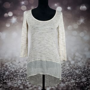 Cream Mesh XS High Low Distressed Sweater Blouse